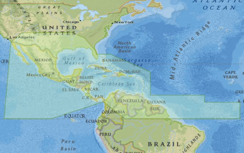 Map of MesoAmerican - Caribbean Sea